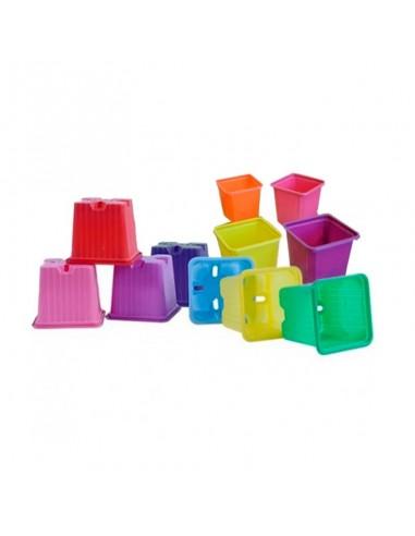 Macetas cuadradas colores (10 uds)
